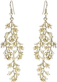 BriLove Women's Wedding Bridal Leaf Vine Long Filigree Chandelier Hook Dangle Earrings Gold-Tone