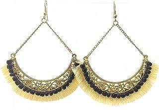 Ishvaku Unisex-Adult Statement Earring For Women And Girls In Ivory/Ant Gold Finish By Ishvaku Ivory
