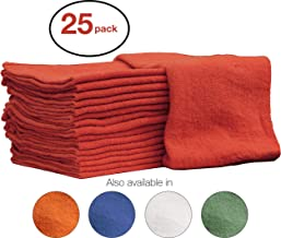 Nabob Wipers Auto-Mechanic Shop Towels, Shop Rags 100% Cotton Commercial Grade Perfect for Your Garage, Auto Body Shop & Bar Mop (12x12) inches, 25 Pack, (Red)