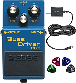 BOSS BD-2 Blues Driver Guitar Effects Pedal Bundle with Blucoil Power Supply Slim AC/DC Adapter for 9 Volt DC 670mA, and 4-Pack of Celluloid Guitar Picks