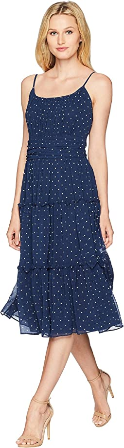 Dot Chiffon Peasant Dress