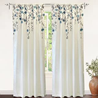 DriftAway Isabella Faux Silk Embroidered Window Curtain Embroidered Crafted Flower Lined with Thermal Fabric 2 Panels 50 Inch by 84 Inch Ivory Blue