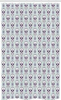 ABAKUHAUS Sugar Skull Stall Shower Curtain, Flower Pattern with Skulls on Geometric Floral Damask Background, Fabric Bathr...
