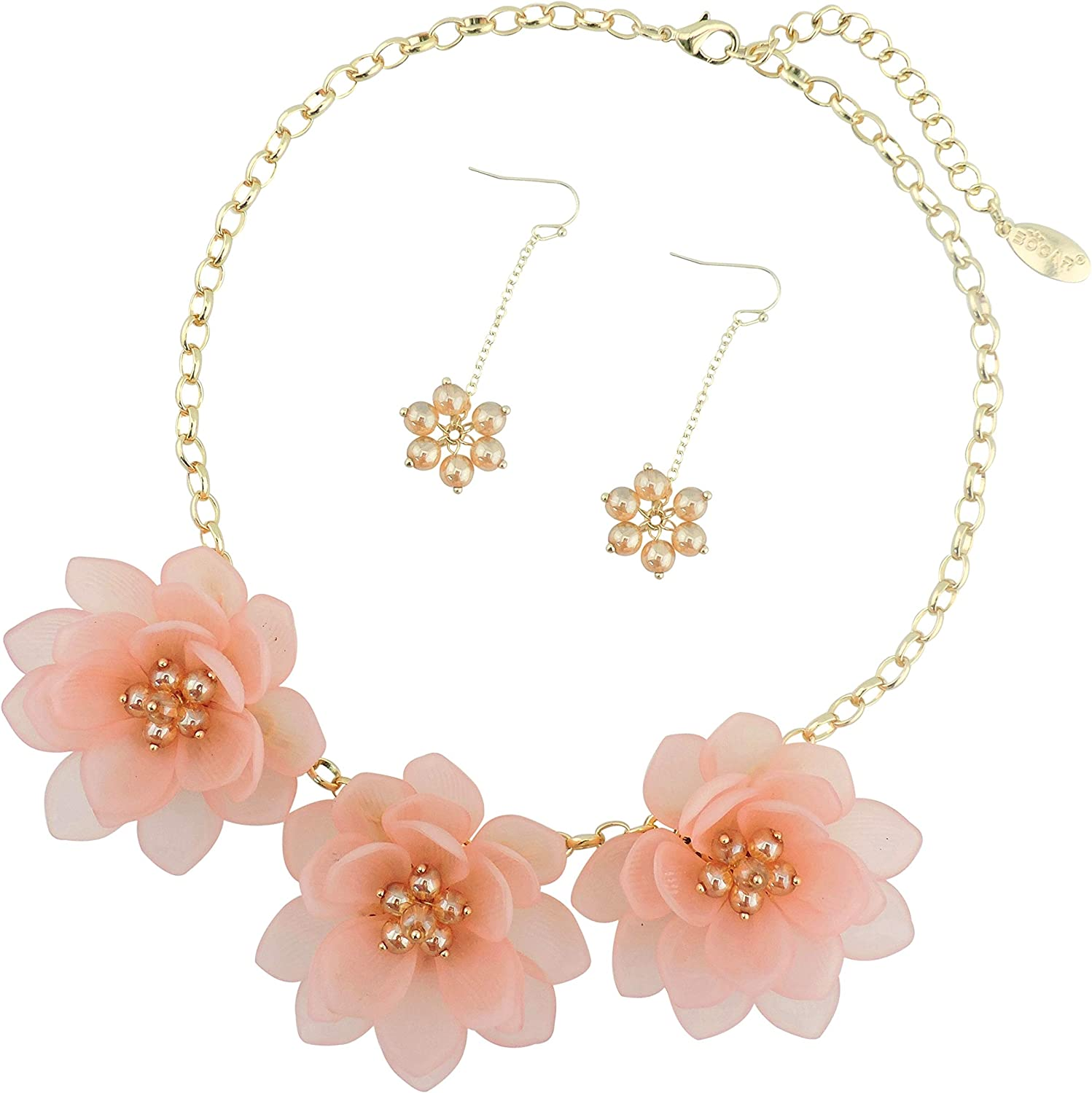 Bocar Bib Statement Pendant Dark Blue Flower Jewelry Set Necklace and Earrings for Women Gift (NK-10372) (Pink)