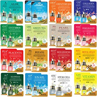 "32 pcs Korean Ultra Hydrating Essence Mask Sheets (2 x 16 Types) Simple & Effective Skincare Routine | Moisturization | Wrinkle Care | Brightening | with""NEW AQUA"" Essence"