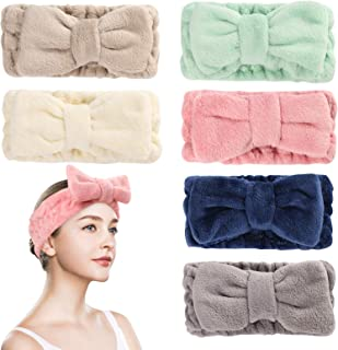 6 Pack Microfiber Facial Makeup Headband Face Wash Headband, Bowtie Spa Headbands for Women, Headband for Washing Face Bow Hair Band for Women and Girls (Color A)