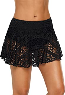 ACKKIA Women's Lace Crochet Skirted Bikini Bottom Swimsuit Short Skort Swimdress