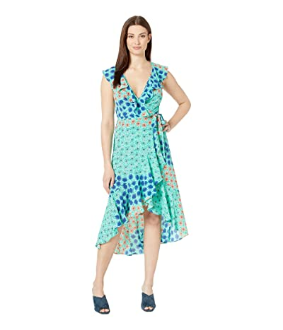 Donna Morgan Sleeveless V-Neck Maxi Dress (Glacier Mint/Azure Blue Multi) Women