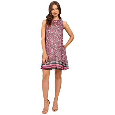 Donna Morgan A Line Printed Chiffon A-Line Dress (Pink Multi) Women