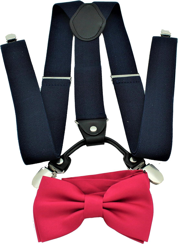Men's Navy Suspenders Bow Tie Set Formal Shape Events Elastic Y Fashionable Max 71% OFF