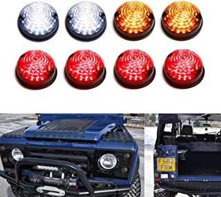 iJDMTOY (8) Smoked Lens Full LED Upgrade Kit For Land Rover Defender Series 2 3 (Fit Front & Rear Turn Signal, Parking Driving & Brake Tail Light Assembiles)