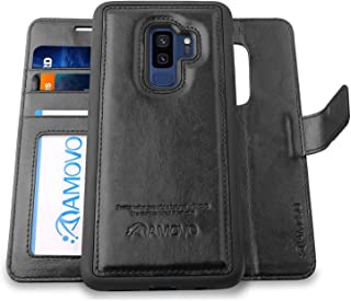 AMOVO Case for Galaxy S9 Plus [2 in 1], Samsung Galaxy S9 Plus Wallet Case [Detachable Wallet Folio] [Premium Vegan Leather] Samsung S9 Plus Flip Case Cover with Gift Box Package (S9 Plus, Black)