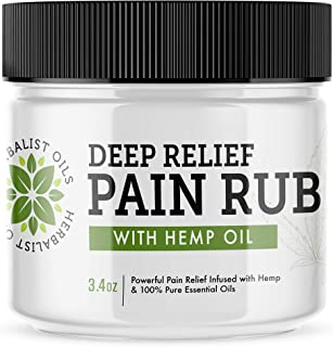 Max Strength Hemp Warming and Cooling Deep Relief Pain Rub Cream 3.4 oz with a Powerful Blend of Essential Oils for Natural Relief of Pain, Muscles, Joints, and Other Aches