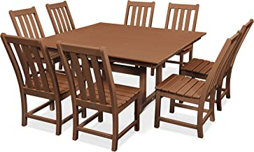product image for POLYWOOD Vineyard 9-Piece Farmhouse Dining Set (Teak)