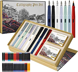 GC Quill Calligraphy Pen Set, 7 Calligraphy Fountain Pens with Different Nibs and 40 Ink Cartridges, Calligraphy Set for B...