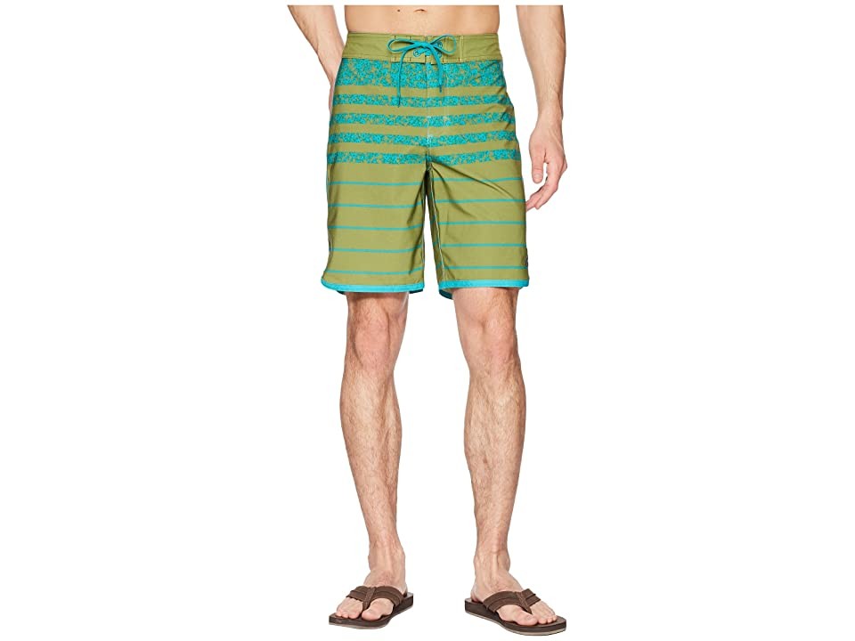 Prana High Seas Shorts (Green Field Stripe) Men