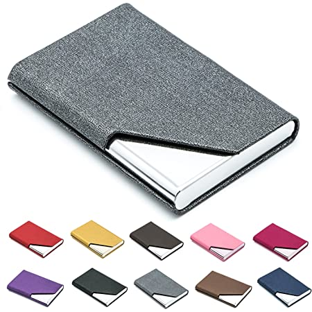 Padike Business Name Card Holder Luxury PU Leather & Stainless Steel Multi Card Case,Business Name Card Holder Wallet Credit Card ID Case/Holder for Men & Women(Gray)