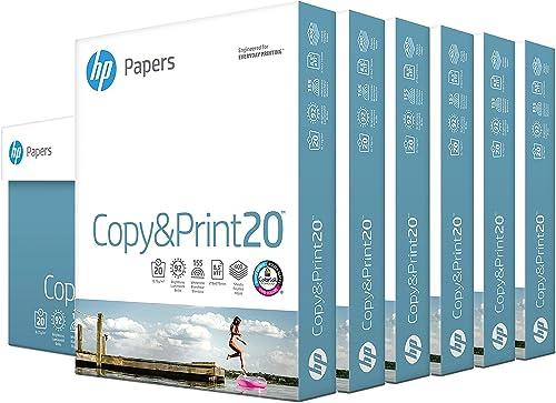 HP Printer Paper 8.5x11 Copy&Print 20 lb 6 Pack Case 2400 Sheets 92 Bright Made in USA FSC Certified Copy Paper HP Co...