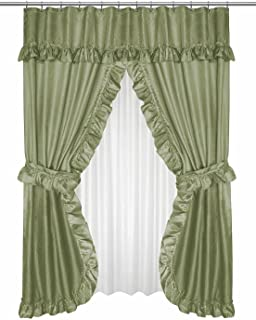 Diamond Dot Ruffled Double Swag Fabric Shower Curtain With Valance and Liner - Sage