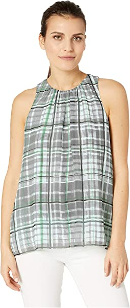 Petite Sleeveless Plaid Shades Blouse
