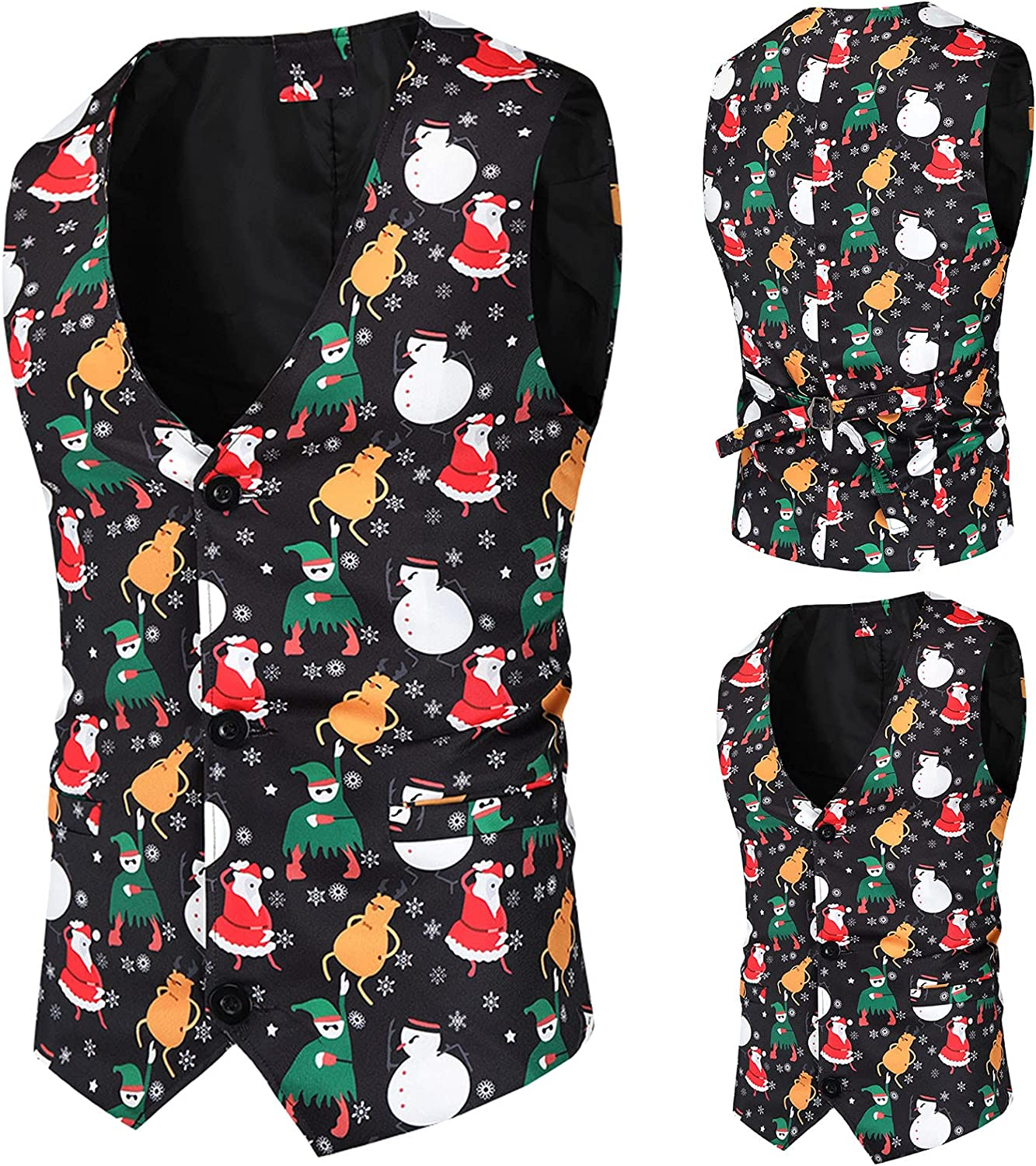 Men's Fashion Trend Personality Christmas Print Casual Vest Inner Suit Coat for Party Sleeveless Jacket