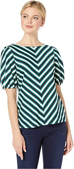 Chevron Striped 3/4 Sleeve Knit Top