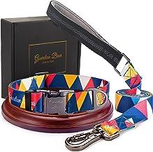 Premium halsband en riem, middelgroot, met metalen sluiting, veilig en verstelbaar, set voor honden en puppy's, comfortabe...