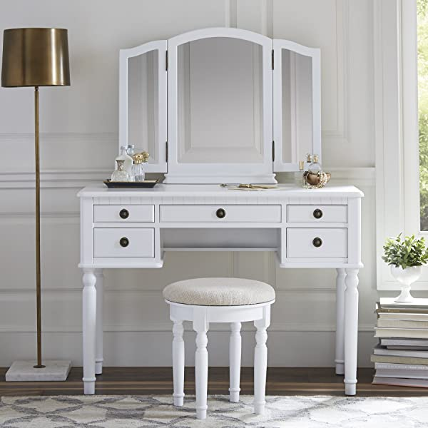 Fineboard FB VT01 WV Dressing Stool Beauty Station Makeup Table Three Mirror Vanity Set 5 Organization Drawers White