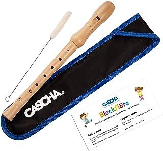 CASCHA Flauta de madera de arce, digitación barroca, flauta para niños y principiantes a partir de 6 años, flauta soprano en Do con bolsa, limpiaparabrisas y grasa de corcho