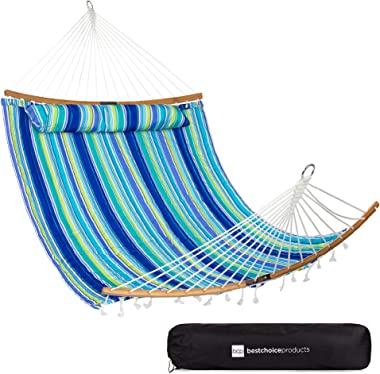 Best Choice Products 2-Person Portable Quilted Curved Hammock for Outdoor, Patio, Camping, w/ 450lb Capacity, Curved Bamboo S