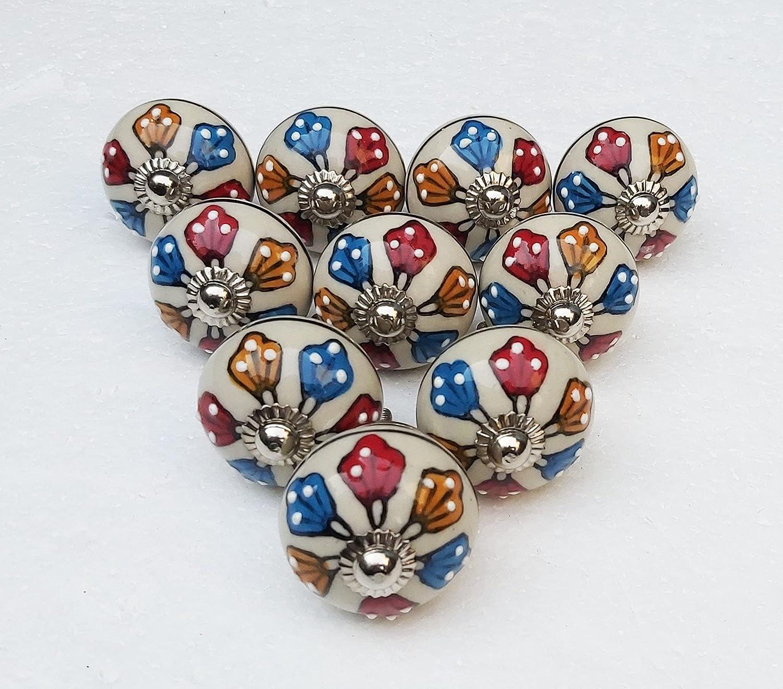 15 Max 71% OFF Pieces Ranking TOP1 Handmade Ceramic Knobs Handles Multicolor Cabi Drawer