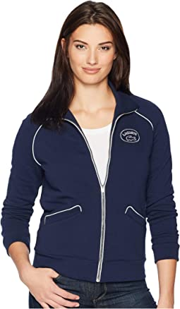 Long Sleeve Crepe French Terry Athleisure Badge Zippered Sweatshirt