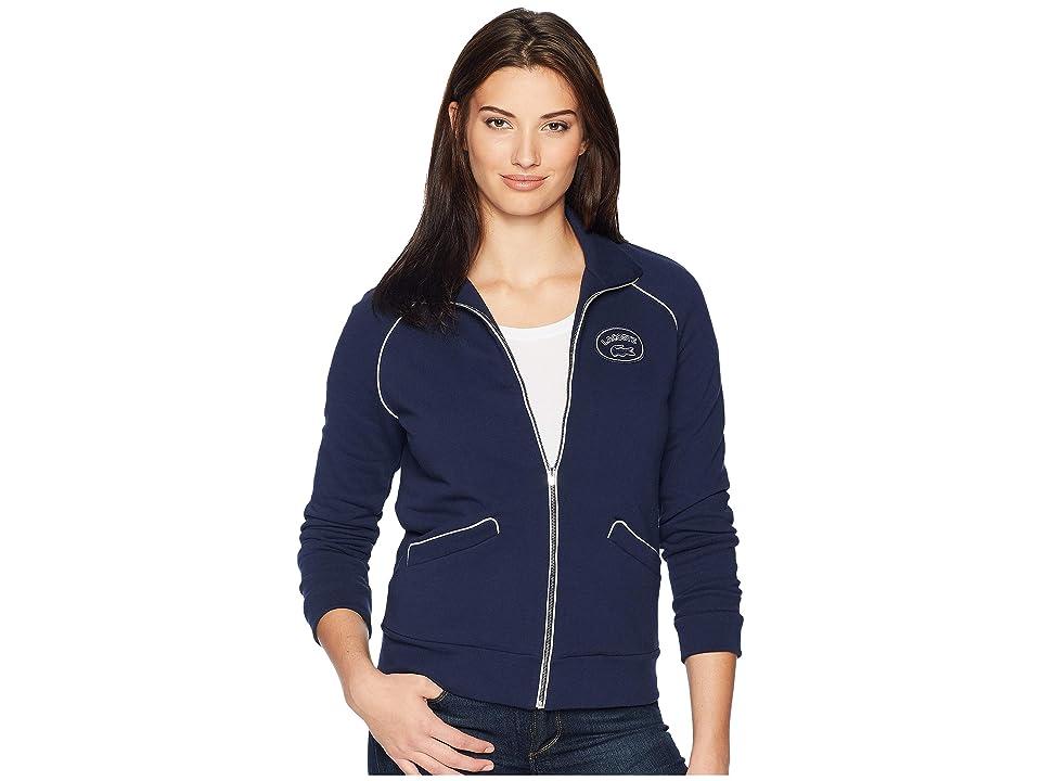Lacoste Long Sleeve Crepe French Terry Athleisure Badge Zippered Sweatshirt (Navy Blue/Cake/Flour White) Women