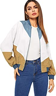 Women's Casual Plain Zip up Pocket Outwear Long Sleeve Short Bomber Jacket