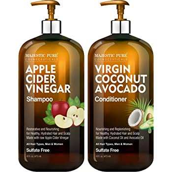 MAJESTIC PURE Apple Cider Vinegar Shampoo and Avocado Coconut Conditioner Set - Restores Shine & Reduces Itchy Scalp, Dandruff & Frizz - Sulfate Free, for All Hair Types, Men and Women - 2 x 16 fl oz