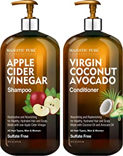 MAJESTIC PURE Apple Cider Vinegar Shampoo and Avocado Coconut Conditioner Set - Restores Shine & Reduces Itchy Scalp, Dand...