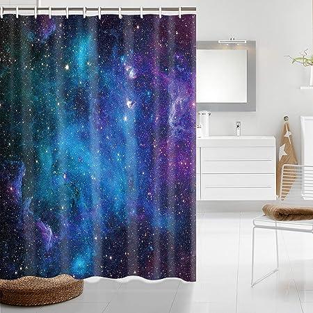Galaxy Space Stars Waterproof Shower Curtain Bathroom Wall Hanging 3 Size Hooks
