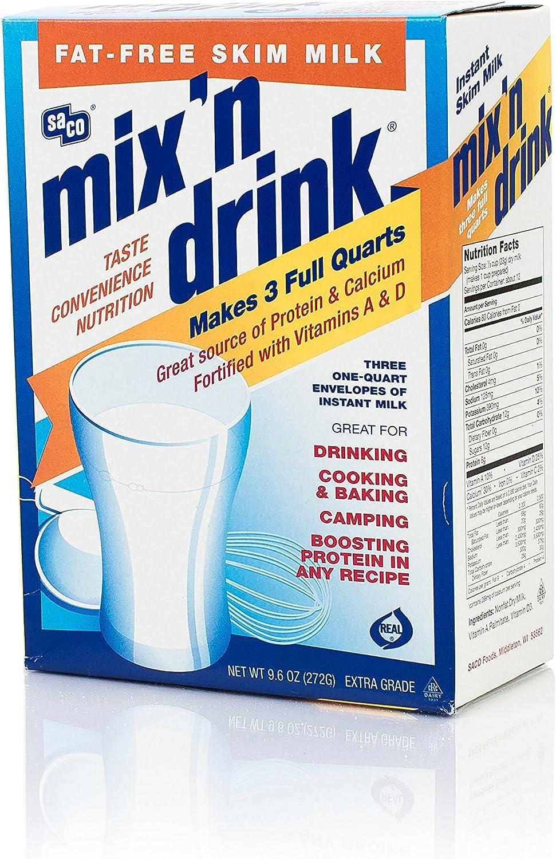 SACO Mix n Drink leche desnatada instantánea, sin grasa, sin OGM, sin gluten, sin nueces, sin rBST, alto calcio y proteínas, hace 3 cuartos de galón, ...