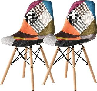 イームズチェア 2脚セット 食卓椅子 カラフルな布 エッフェル塔のデザイン 天然木製の脚