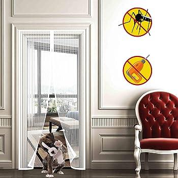 WISKEO Mosquitera Puerta Corredera Grande Magnetica, Cierra AutomáTicamente, ProteccióN de Insectos, FáCil De Instalar Cortina Varios Tamaños, Puertas Correderas Balcones - Blanco 70x200cm: Amazon.es: Hogar