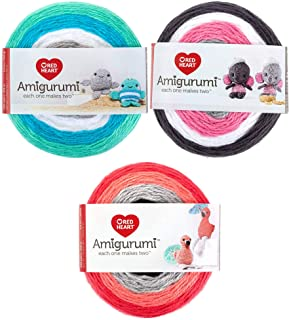 Red Heart Amigurumi Yarn, (3-Pack) Elephants, Narwhals, and Flamingos!