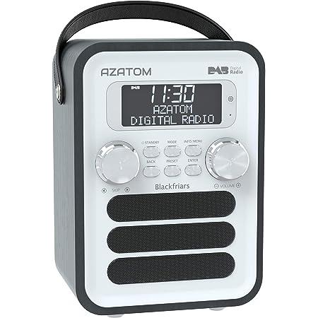 Blackfriars Retro DAB/DAB+ Digital FM Portable Radio/Alarm Clock/Real Wood Effect Finish/Mains Powered/Rechargable Battery/Subwoofer/Premium Stereo Sound (Black Ash)