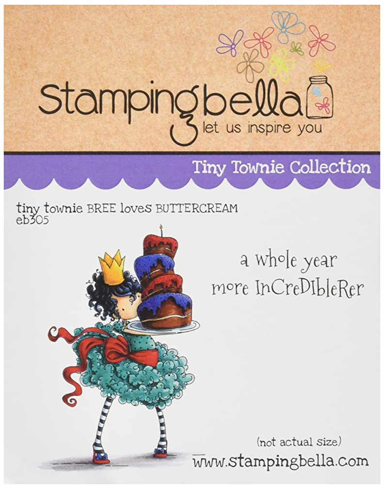 Stamping Bella Tiny Townie Bree Loves Buttercream Cling Rubber Stamp, 6.5
