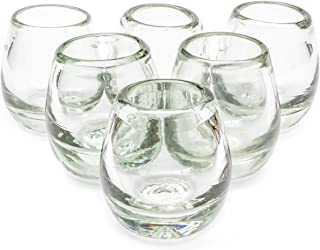 MEXICAN TEQUILA GLASS SHOTS - 6 Pack Novelty Design Transparent Recycled Glassware Set Unique Artisan Crafted DISHWASHER SAFE Lead Free Hand Blown Vodka Scotch Whiskey Wine tots 2 oz. Party Supplies
