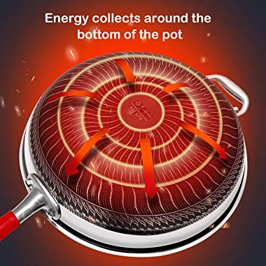 12-Inch Hybrid Stainless Steel Non Stick Wok Pan With Lid,Double-Sided Honeycomb(PFA,PFOA Free),Dishwasher And Oven Safe,Fryi