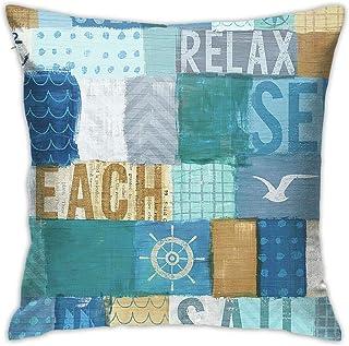 Antvinoler Ocean Beach Anchor Seabird Scape Blue Collage Throw Pillow Cover Case for Couch Sofa Home Bedroom Car Decoratio...