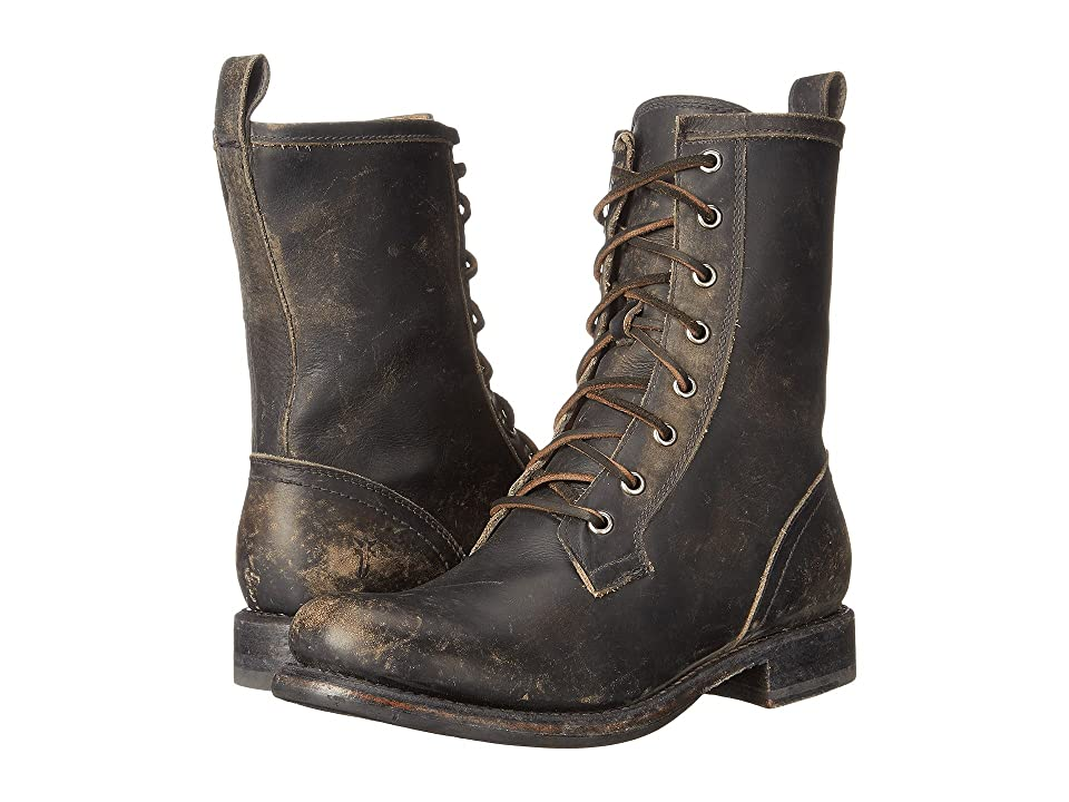 Frye Jenna Combat (Black Stone Wash) Women