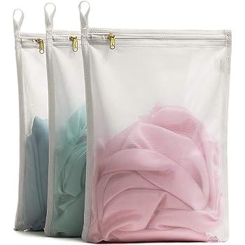 TENRAI Delicates Laundry Bags, Bra Fine Mesh Wash Bag for Underwear, Lingerie, Bra, Pantyhose, Socks, Use YKK Zipper, Have Hanger Loops, Small Openings (White, 3 Small, CQS)