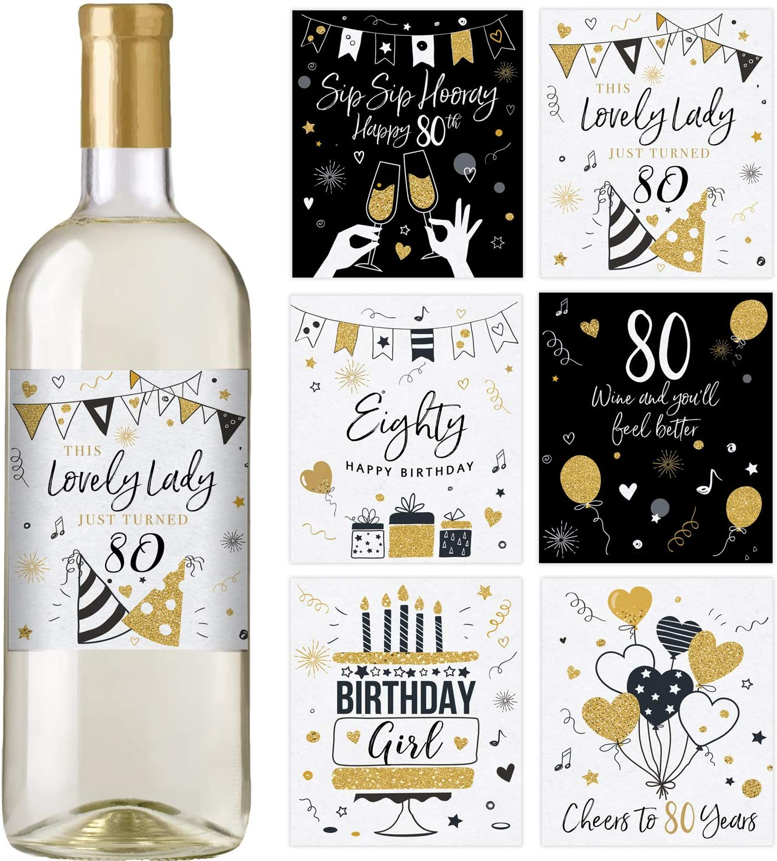 80th Super sale Birthday Wine Bottle Labels Waterproof Bi Set Large-scale sale of 6