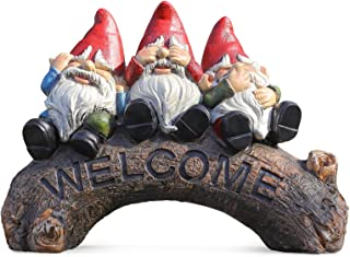 Garden Decor Outdoor Sculptures Statues Welcome Sign Figurine Gnomes Fairy Gardening Gifts for Christmas Yard Patio Outsid...